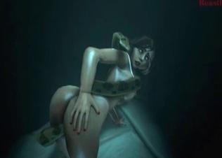 Brutal snake fucks a brunette in the 3D porn