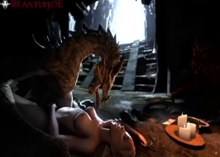 3D blonde gets fucked by a dragon